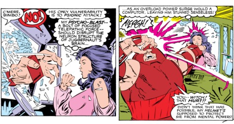 Psylocke gives Juggs the psycho-blast treatment
