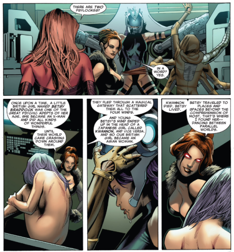 the Red Queen may be a wicked bitch, but she offers a nice summation of the Psylocke story