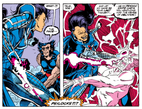 Psylocke debuts her psychic knife in battle with Wolverine